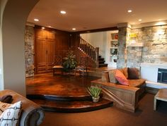 Beautifully stained concrete floor makes this seating area warm and inviting. Concrete Arts Hudson, WI