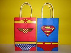 Wonder Woman Superman Favor bags by CreativePartyStudio on Etsy