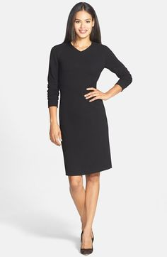 Classiques Entier® V-Neck Stretch Crepe Sheath Dress available at #Nordstrom