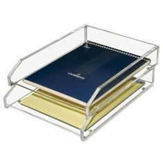 Kantek  Acrylic Double Letter Tray, 4 3/4 X 14 X 10 1/2 Inches , Clear (Ad15), 2015 Amazon Top Rated Letter Trays & Stacking Supports #OfficeProduct
