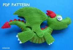 PDF sewing pattern to make a little felt dragon. by Kosucas                                                                                                                                                                                 Mais