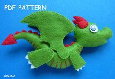 PDF sewing pattern to make a little felt dragon. by Kosucas