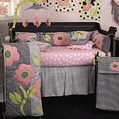 Poppy Pink Black and White Houndstooth Dots and Stripes 11 Piece Crib Set