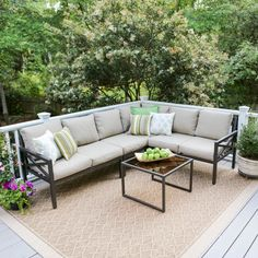 Outdoor Leisure Made Blakely Aluminum 5 Piece Corner Sectional Patio Conversation Set Tan - 502987-TAN