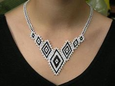Diamond shape necklace. (pattern on website)  maybe make 2 diamonds as earrings or only 1 diamond as focal/pendant?