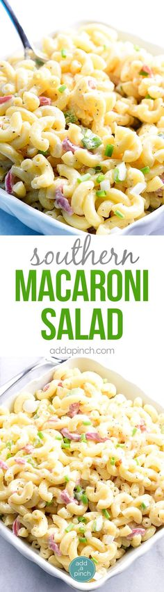 Southern Macaroni Salad Recipe - Southern Macaroni Salad makes a delicious addition for picnics, potlucks, and any get together! An easy make-ahead staple, this macaroni salad is a definite go-to recipe for your summer parties! // addapinch.com