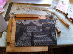 Home Grown  This lino cut is based on my grandparents old farm house and their wonderful garden and vegetable patch where I spent many happy