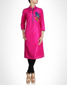 Pink kurti with embroidered blue bird spruced with sequins. Shop Now: www.kimaya.in