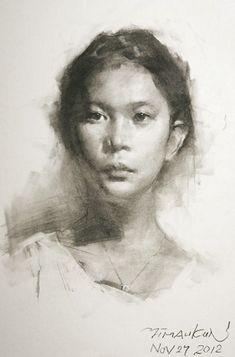 Yim Mau-kun, young female portrait pencil drawing, 2012. yimaukun.com