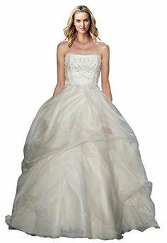 ZHUOLAN White Strapless Ball Gown in Silk Gazar Wedding Dress