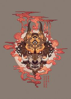 Oni Mask by Sekares-Arisawa on DeviantArt Japanese Artwork, Japanese Tattoo Art, Japanese Demon Mask Tattoo, Japanese Oni Mask, Oni Art, Oni Mask Tattoo, Oni Demon, Character Art, Character Design