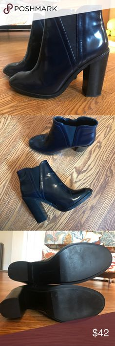 ZARA Patent Leather Booties Zara Faux Patent Leather Heeled Booties in deep blue. Adorable! Worn two or three times, in excellent condition. Zara Shoes