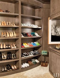 Portia Rossi and Ellen DeGeneres closet.  Clearly they have different tastes in shoes...