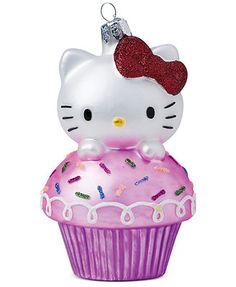 Kurt Adler Hello Kitty Cupcake Glass Ornament