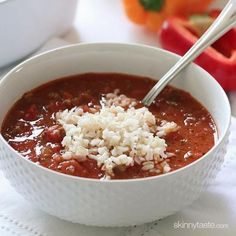 Stuffed pepper soup - This hearty bowl of soup has everything you love about stuffed peppers/Great soup. I used left over white rice instead of brown and used a yellow pepper instead of green. Will make again.