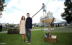 Performer Sally Miller (above) standing in for the character played by Ella Purnell (L) with actor Asa Butterfield during a photocall for Tim Burton's 'Miss Peregrines Home For Peculiar Children' at Potters Field Park on September 21, 2016 in London, England.