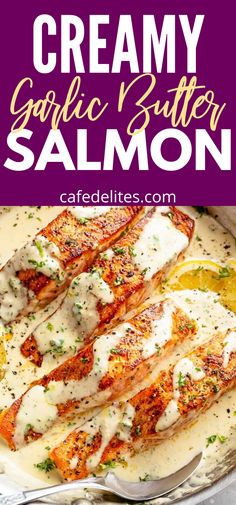 Creamy Garlic Butter Salmon is the ULTIMATE Salmon recipe. Cook your salmon perfectly in one incredible creamy garlic  butter sauce that literally melts in your mouth. #garlic #butter #salmon #dinner #seafood #seafoodlovers #lunch #creamy Salmon Dinner, Seafood Dinner, Salmon Recipes, Fish Recipes, Seafood Soup Recipes, Dinner Recipes, Butter Salmon, Healthiest Seafood, Clean Eating Dinner