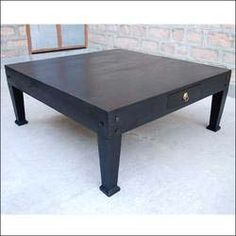 Oversize Solid Wood Black Square Coffee Table With Drawers