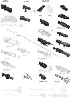 kawaiik weapon concepts, nailgun, plasma, grenade, rocket launcher, railgun...