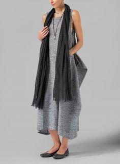 Linen Dark Charcoal Long Scarf