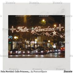 Merry Christmas. Street Princess, Madrid Holiday Postcard Christmas Poster, Christmas Cards, Merry Christmas, Holiday Postcards, Party Hats, Postcard Size, Paper Texture, Madrid, Birthday Parties