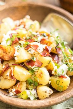 WARM POTATO SALAD WITH CREAMY GOAT CHEESE AND CRISPY BACON                                                                                                                                                     More