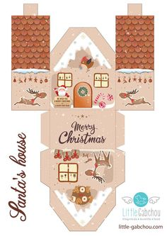 Lebkuchenhaus for the imprimer pour calendrier de l & # avent ou pas. Free for printing - Baby Stuff and Crafts Christmas Paper Crafts, Christmas Decorations, Christmas Ornaments, Christmas Houses, Simple Christmas, Christmas Holidays, Christmas Ideas, Navidad Diy, Theme Noel