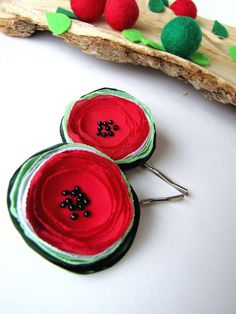 Handmade bobby pins with fabric flowers (2 pcs) - TINY FRESH WATERMELONS