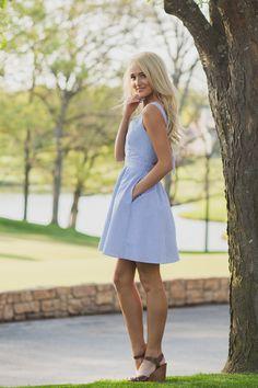 Preppy in a light blue Garrison #laurenjames #golfcourse #garrison #seersucker #seersuckerdress