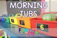 Morning Tubs are a wonderful way to get your students moving and their brains thinking creatively in the morning.  These ideas from Fun in First are perfect. Kindergarten Morning Routines, Classroom Routines, Morning Activities, Early Finishers Kindergarten, Classroom Morning Routine, Stem Activities, Classroom Resources, Classroom Ideas, Morning Boxes