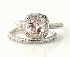 Etsy+pink+engagement+ring+and+wedding+band+set