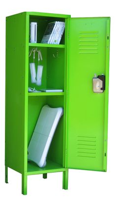 Metal Game Console Lockers Include 2 Hooks And Shelves, An Electrical Hole  In The Back And A Door Pocket. Locker Can Be Locked For Security.