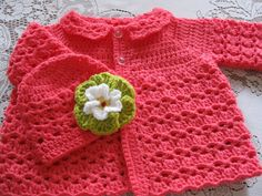 Crochet Baby Girl Sweater and Hat Set 3-6 Months by TheComfyBaby