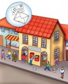 La ciudad, tiupos de edificios, tipos de casas, elementos de la calle Games For Kids, Activities For Kids, Community Helpers, Post Office, Toy Chest, Kids Rugs, Album, Education, Drawings