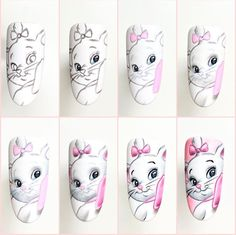 Cartoon Nail Designs, Animal Nail Designs, Animal Nail Art, Nail Art Designs Videos, Nail Art Disney, Disney Acrylic Nails, Best Acrylic Nails, New Nail Art, Cute Nail Art