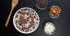 Chocolate, coconut & almonds?! Yes, please! This smoothie bowl is truly a treat! #blendtec #blenderrecipes
