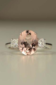 MORGANITE is a nice alternative.  seasonsofwinterberry: Hand made 18ct white gold Morganite and diamond ring…..