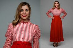Vintage 1950s dress  | striped red & white 50s dress • Poppins Dress