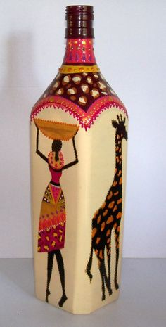 Painted Glass BottlesPaint BottlesDecorated BottlesWine Bottle VasesRecycled Wine BottlesGlass Bottle CraftsBottles And JarsAltered BottlesBottle Painting. Glass Bottle Crafts, Wine Bottle Art, Diy Bottle, Bottle Vase, Decoupage Glass, Altered Bottles, Bottle Painting, Craft Work, Glass Art