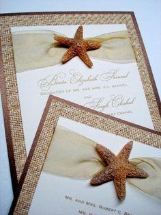 Beach Themed Wedding Invitations love the starfish!