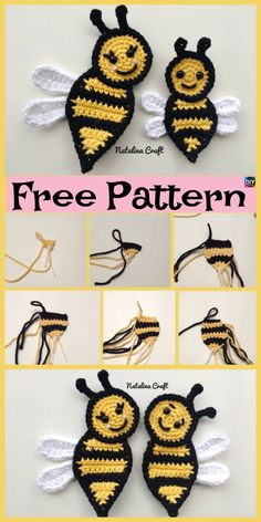 These Crochet Applique Bees are such a great way for decoration, they can be stitched onto any beautiful blanket, or a favorite piece of clothing. Crochet Applique Patterns Free, Crotchet Patterns, Crochet Motif, Crochet Flowers, Knitting Patterns, Crochet Appliques, Newborn Crochet, Crochet Baby Hats, Crochet Gifts
