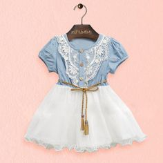 $4.44 (Buy here: https://alitems.com/g/1e8d114494ebda23ff8b16525dc3e8/?i=5&ulp=https%3A%2F%2Fwww.aliexpress.com%2Fitem%2FBaby-Kids-Girl-Short-Sleeve-Denim-Lace-Dresses-Tops-Tutu-Dress-Sundress%2F32709847187.html ) Baby Kids Girl Short Sleeve Denim Lace Dresses Tops Tutu Dress Sundress for just $4.44
