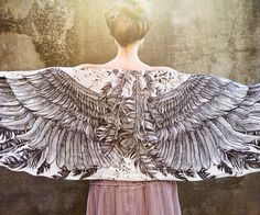 Women scarf, Original  Art hand painted, Wings and feathers, stunning unique and useful, perfect gift. $48.00, via Etsy.