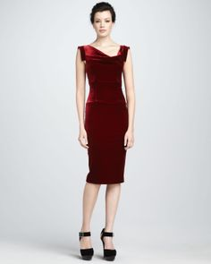 Black Halo Jackie Velvet Dress in Red