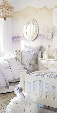 Margo Girls Room Bedding - Absolutely love the wall treatment.