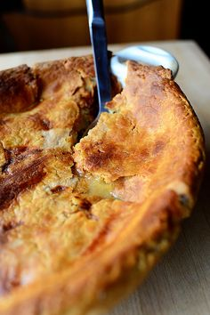 Pot Pie by Ree Drummond / The Pioneer Woman, via Flickr:   I used a bit more flour for a thicker filling and let it cool all the way. Rather than making a pie, I took 2 premade pie crusts (pillsbury) and cut each circle in half, then put a 1/4 of the filling on each peice of dough, then folded and sealed w a fork, brushed w egg wash and baked at 375 for about 30 min.