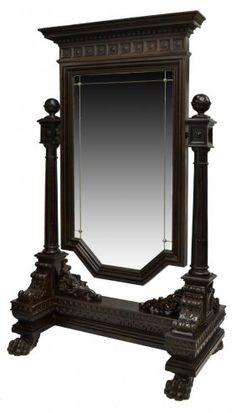 ~ Impressive Renaissance Revival Carved Mirror ~ liveauctioneers.com