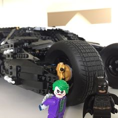 "Batman's New Ride -With exclusive Lego ""Dark Knight"" Batman and Joker minifigures. #batmanbegins #darkknight #darkknightrises #lego #batman #legobatman #legostagram #photography"
