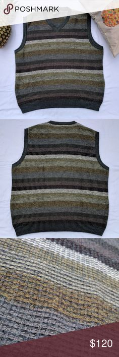 Ermenegildo Zegna Striped Sweater Vest *Ermenegildo Zegna Striped Sweater Vest *75% Wool, 15% Mohair, 10% Nylon *Striped in a mixture of brown, grey and greens *Used, great condition, tiny pull in fabric on back right shoulder pictured  Please feel free to make an offer or ask questions!  xoxo Karlynn [: Ermenegildo Zegna Sweaters V-Neck