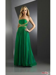 Buy Custom Made High Quality Unique Green Strapless Beaded Ruched Floor-length Chiffon Prom Dresses/Evening Dresses PD-7011 at wholesale cheap prices from Bridal-Buy.com
